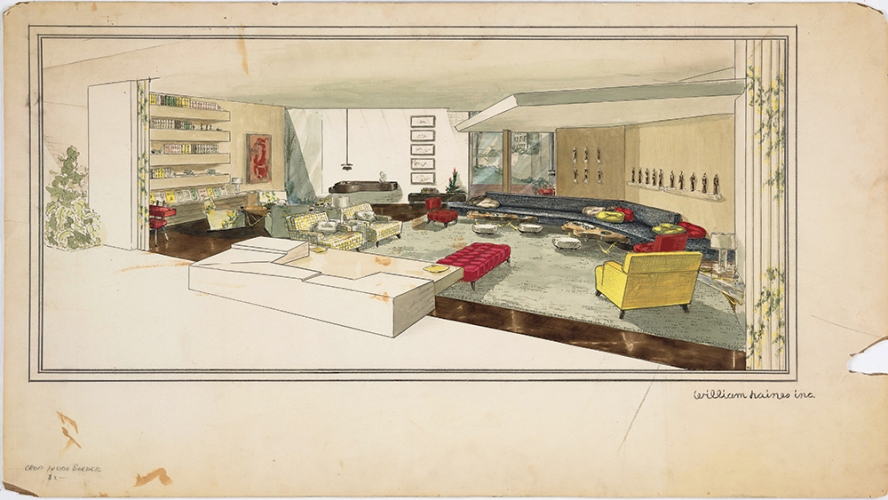 William Haines (1900-1973), interior designer, Living room of the Sidney and Frances Brody residence, Beverly Hills, ca. 1952. A. Quincy Jones (1913-1979), architect. Ink and watercolor on board, 26 x 47 1/2 inches. © Courtesy of William Haines Designs, 2018. The Huntington Library, Art Collections, and Botanical Gardens.
