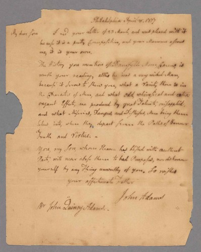 John Adams, letter to John Quincy Adams, April 8, 1777. The Shapiro Collection.