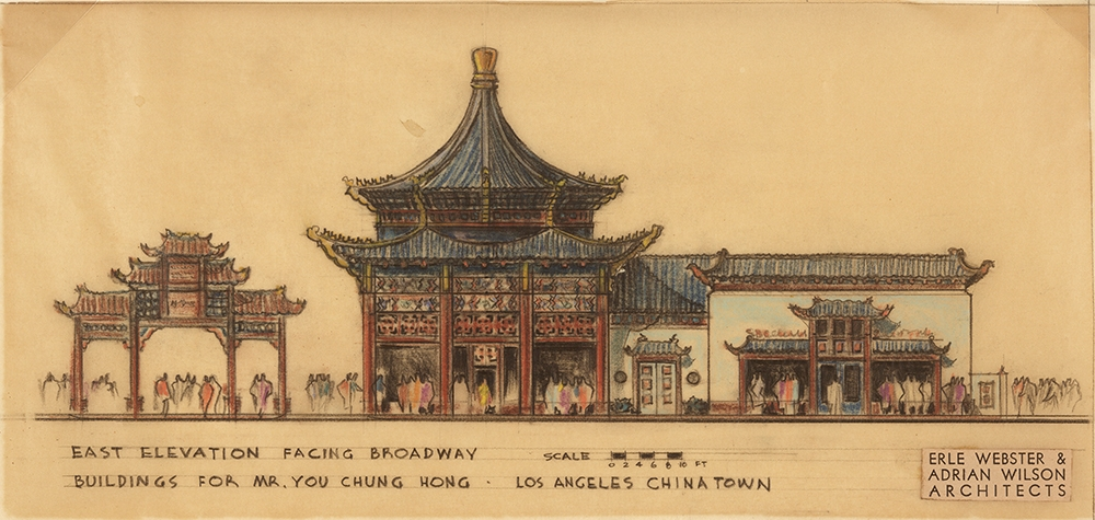 Erle Webster (1898-1971) and Adrian Wilson (1898-1988), architects, Buildings for Mr. You Chung Hong, Los Angeles Chinatown, East elevation facing Broadway, ca. 1936-37. Colored pencil and pastel on tracing paper, 17 1/2 x 13 1/2 inches. © Courtesy of Jane Wilson Higley, 2018. The Huntington Library, Art Collections, and Botanical Gardens.