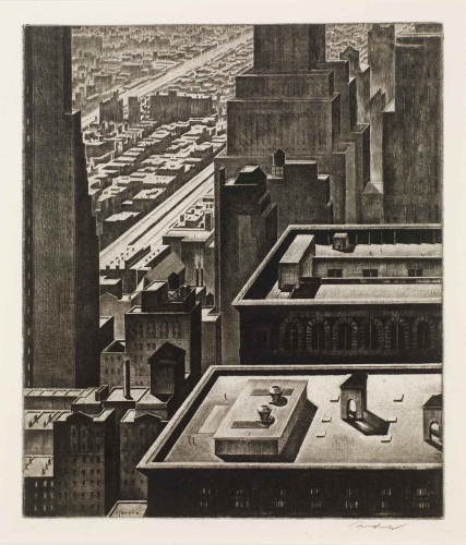 Armin Landeck, Manhattan Vista, 1934, drypoint, 10 1/8 × 8 5/8 in. The Huntington Library, Art Collections, and Botanical Gardens. Gift of Hannah S. Kully.