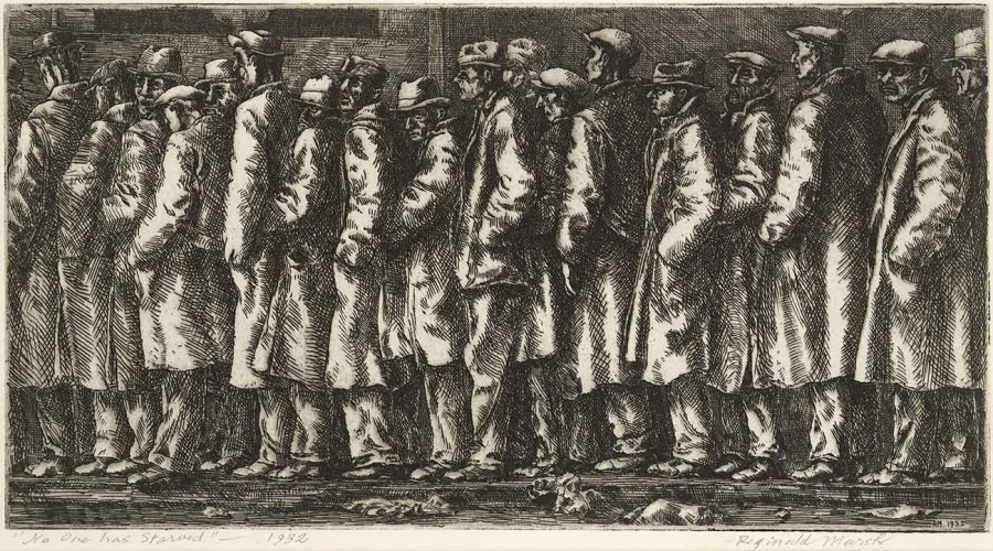 Reginald Marsh, Bread Line―No One Has Starved, 1932, etching and engraving, 6 15/16 × 11 7/8 in. The Huntington Library, Art Collections, and Botanical Gardens. © Estate of Reginald Marsh/ Art Students League/ Artist Rights Society (ARS), New York.