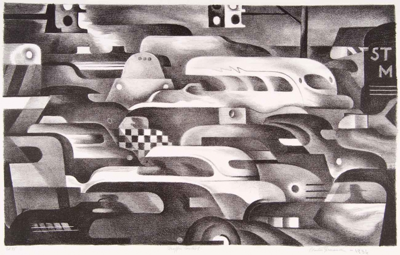 Benton Murdoch Spruance, Traffic Control, 1936, lithograph on woven paper, 9 × 14 3/8 in. The Huntington Library, Art Collections, and Botanical Gardens. Purchased with funds provided by Russel I. and Hannah S. Kully. Image courtesy of bentonspruance.com.