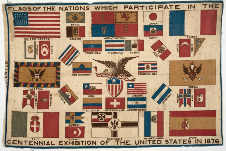 Flags of the nations which participate in the Centennial exhibition of the United States in 1876, printed textile, 1876. The Jay T. Last Collection of Graphic Arts and Social History. priJLC FAIR 001760