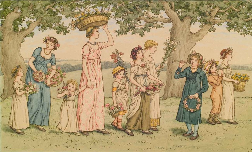 Kate Greenaway (British, 1846–1901), May Day, ca. 1890, pen and brown ink, watercolor and graphite pencil on wover paper. Purchased with funds from the Statch Memorial Fund, The Huntington Library, Art Museum, and Botanical Gardens.