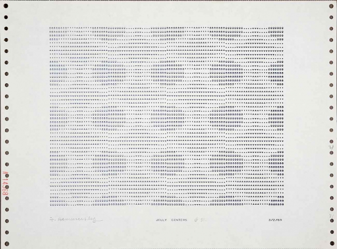 Frederick Hammersley (1919–2009), JELLY CENTERS, #31, 1969, from one incomplete set of the series of 72, computer-generated drawing on paper, 11 x 15 in. The Huntington Library, Art Collections, and Botanical Gardens, gift of the Frederick Hammersley Foundation. © Frederick Hammersley Foundation