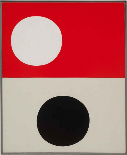 Frederick Hammersley (1919–2009), Like unlike, #6, 1959, oil on linen, 49 × 40 in. Private collection. © Frederick Hammersley Foundation