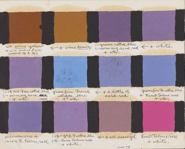 Frederick Hammersley (1919–2009), color test swatch, November 1979, oil on paper with pen, 8 x 11 in. Getty Research Institute, Los Angeles, gift of the Frederick Hammersley Foundation. © Frederick Hammersley Foundation
