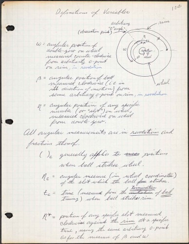Albert Hibbs, Page from a draft algorithm for calculating roulette patterns that allowed him and friend to make a fortune in Las Vegas, ca. 1947. Manuscript in ink on paper. Gift of the Hibbs/Wilson Family, 2010. © Courtesy of Victoria Hibbs, 2019. The Huntington Library, Art Museum, and Botanical Gardens.