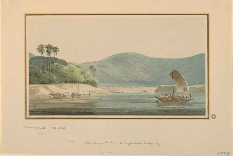 Thomas Daniell (British, 1749-1840), On the Ganges, ca. 1788, watercolor, Gilbert Davis Collection.