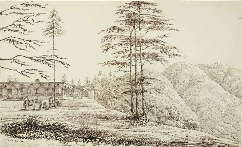 Col. George Francis White (British, 1808-1898), Lord Dalhousie's Residence, Simla, 1831, pen and ink.