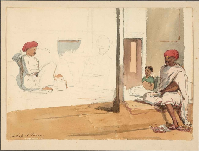 Attributed to William H. Carpenter, Jr. (British, 1818-1899), Shop at Poona, ca. 1850-57, watercolor, Gift of Donald C. Whitton.