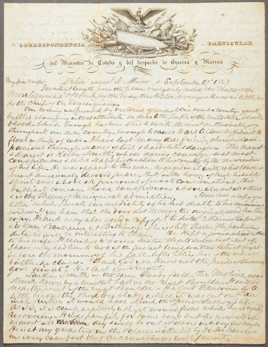 Edmund Kirby, Autograph letter to Eliza Brown Kirby, Mexico City, September 27, 1847. Manuscript in ink on letterhead, 10-3/4x 8-3/8 in.  Edmund Kirby Papers. Purchase, Library Collectors' Council, 2014. The Huntington Library, Art Museum, and Botanical Gardens, San Marino.