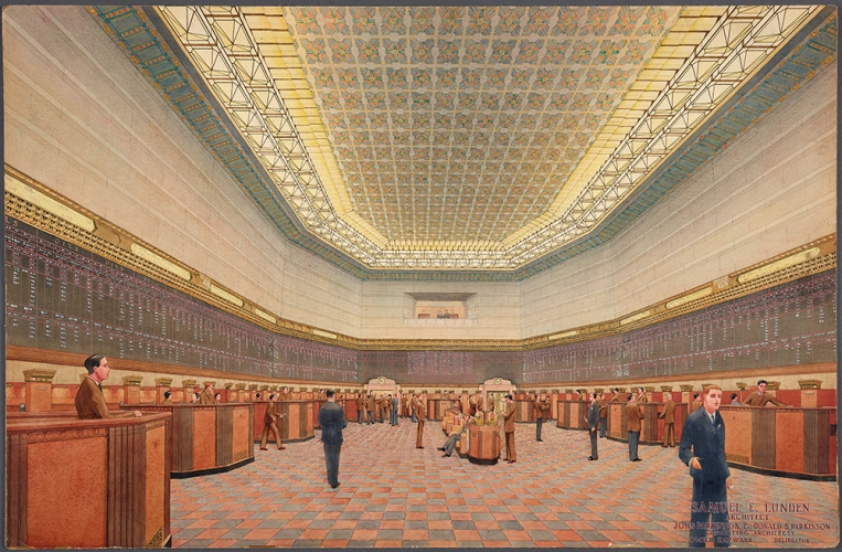 Roger Hayward (1899–1979), renderer, Los Angeles Stock Exchange, interior of trading room floor, ca. 1929. Samuel E. Lunden (1897-1995), architect, John Parkinson (1861-1935) and Donald Parkinson (1895-1945), consulting architects. Watercolor over graphite on illustration board, 25 1/2 x 39 inches. © Courtesy of Dr. James and Mrs. Miriam Kramer, 2018. The Huntington Library, Art Collections, and Botanical Gardens.