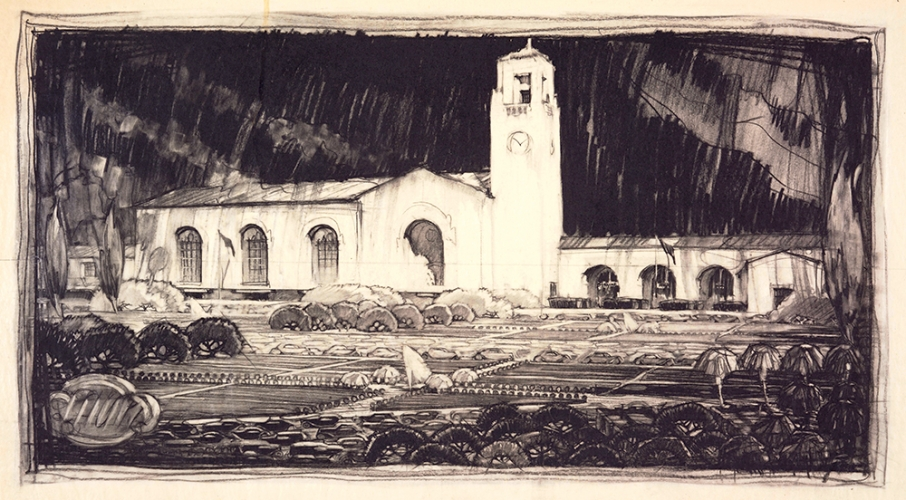 Edward Warren Hoak (1901-1978), chief designer, Los Angeles Union Passenger Terminal, ca. 1935. John Parkinson (1861-1935) and Donald Parkinson (1895-1945), architects. Charcoal on tracing paper, 16 x 29 5/8 inches. The Huntington Library, Art Collections, and Botanical Gardens.