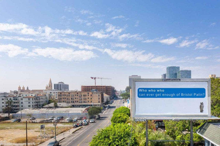 Larry Johnson, Bristol, 2020. Billboard at Hoover Street and West Seventh Street, Los Angeles 90005 (facing east). 144 × 288 in. (365.8 × 731.5 cm). Courtesy of the artist, David Kordansky Gallery, Los Angeles, and 303 Gallery, New York. Installation view, Made in L.A. 2020: a version. Photo: Joshua White / JWPictures.com