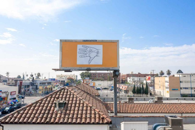 Larry Johnson, Palmistry, 2020. Billboard at West Eighth Street and South Alvarado Street, Los Angeles, 90057 (facing north). 144 × 288 in. (365.8 × 731.5 cm). Courtesy of the artist, David Kordansky Gallery, Los Angeles, and 303 Gallery, New York. Installation view, Made in L.A. 2020: a version. Photo: Joshua White / JWPictures.com