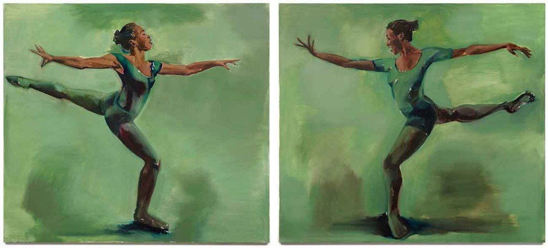 Lynette Yiadom-Boakye, Harp-Strum, 2016. Oil on canvas, diptych: 71 x 79 in. each. © Lynette Yiadom-Boakye. Courtesy of the artist, Jack Shainman Gallery, New York and Corvi-Mora, London.