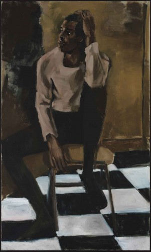 Lynette Yiadom-Boakye (b. 1977), Medicine at Playtime, 2017, oil on linen, 79 x 48 in. Museum of Contemporary Art, Los Angeles. Purchased with funds provided by the Acquisition and Collection Committee. © Lynette Yiadom-Boakye. Image courtesy of the artist, Jack Shainman Gallery, New York and Corvi-Mora, London.