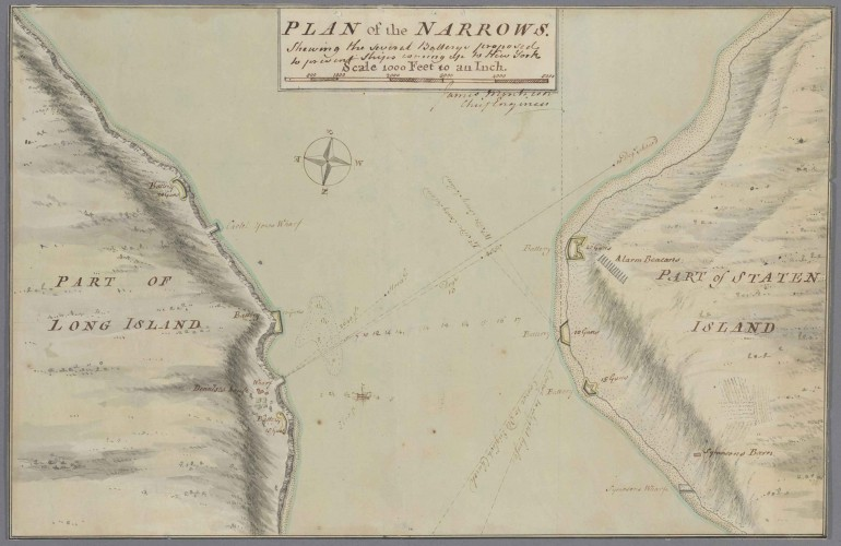 James Montresor, Plan of Narrows, approximately 1757, Kashnor Collection of Early American Maps. mss HM 15452
