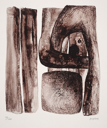 Henry Moore, Mexican Mask, 1974, lithograph, 26 x 19 in. The Huntington Library, Art Collections, and Botanical Gardens. Gift of Philip and Muriel Berman Foundation. © The Henry Moore Foundation. All Rights Reserved, DACS 2017 / henry-moore.org