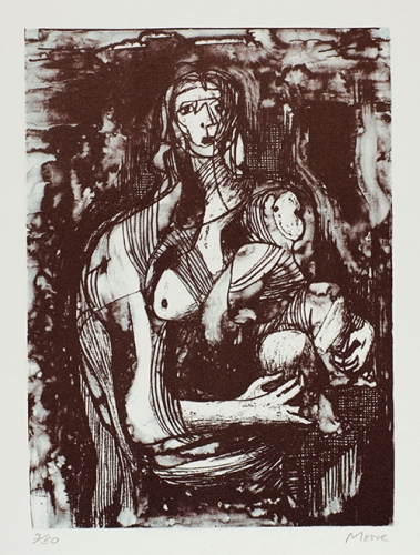 Henry Moore, Mother and Child, 1973, lithograph, 20 x 15 in. The Huntington Library, Art Collections, and Botanical Gardens. Gift of Philip and Muriel Berman Foundation. © The Henry Moore Foundation. All Rights Reserved, DACS 2017 / henry-moore.org
