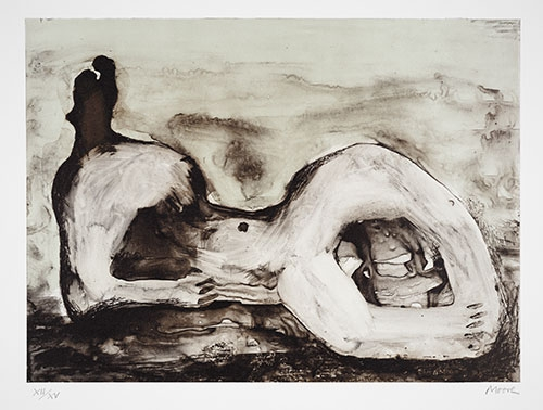 Henry Moore, Reclining Figure Cave, 1979, lithograph, 21 x 25 in. The Huntington Library, Art Collections, and Botanical Gardens. Gift of Philip and Muriel Berman Foundation. © The Henry Moore Foundation. All Rights Reserved, DACS 2017 / henry-moore.org