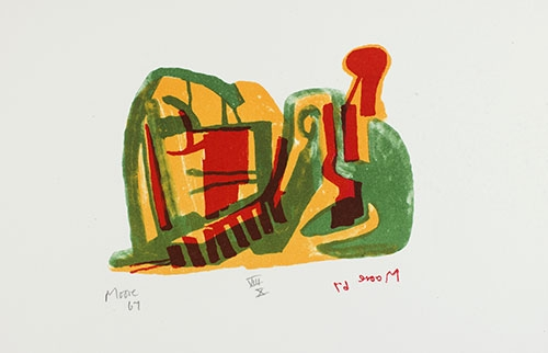 Henry Moore, Reclining Figure, 1967, lithograph, 19 ½ x 15 in. The Huntington Library, Art Collections, and Botanical Gardens. Gift of Philip and Muriel Berman Foundation. © The Henry Moore Foundation. All Rights Reserved, DACS 2017 / henry-moore.org