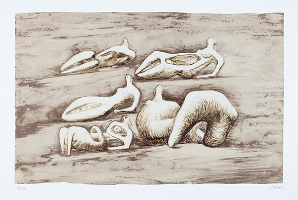 Henry Moore, Five Reclining Figures, 1979, lithograph, 19 × 25 in. The Huntington Library, Art Collections, and Botanical Gardens. Gift of the Philip and Muriel Berman Foundation. © The Henry Moore Foundation. All Rights Reserved, DACS 2017 / henry-moore.org
