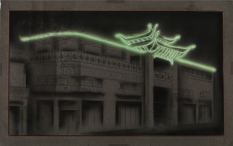 Electrical Products Corp. (artist unknown), Neon study for You Chung Hong buildings, Chinatown, Los Angeles, ca. 1936-37. Airbrush, black chalk, colored pencil, and gouache on board, 16 x 25 1/2 inches. © Courtesy of Federal Signal Corporation, on behalf of Electrical Products Corporation, 2018. The Huntington Library, Art Collections, and Botanical Gardens.