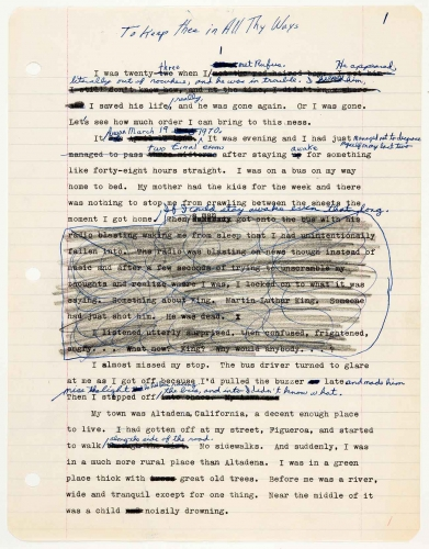 Octavia E. Butler, working draft of Kindred (formerly titled To Keep thee in All Thy Ways) with handwritten notes by Butler, ca. 1977. The Huntington Library, Art Collections, and Botanical Gardens. © Estate of Octavia E. Butler.