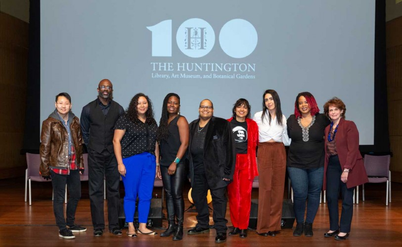 President Karen Lawrence (far right) with participants in Octavia Butler's Parables: A Music Talk with Toshi Reagon. (L-R): Sophie Kim, Phil Allen, Shelley De Leon, Juliette Jones, Toshi Reagon, Claudia L. Peña, Melodie Yashar, and Tamisha A. Tyler.
