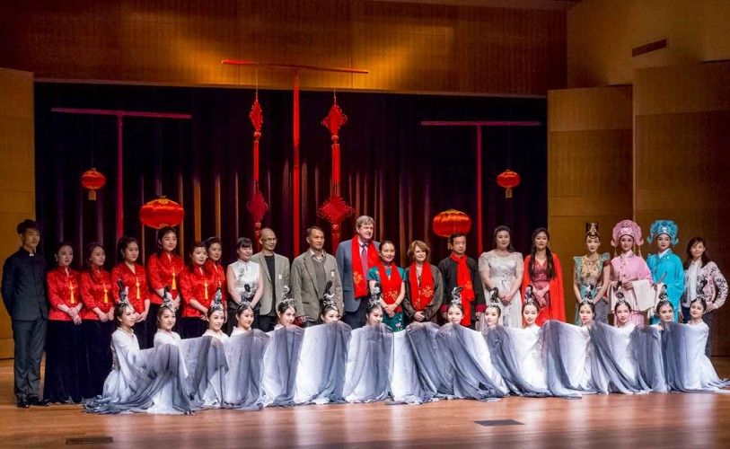 President Karen Lawrence and Dr. Peter Lawrence with Chinese Cultural Consul Wang and Consul Gu and performers at The Huntington's 2019 Chinese New Year Festival
