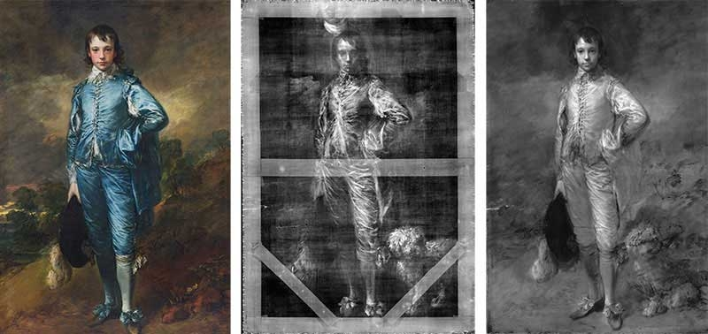 The Blue Boy (ca. 1770) by Thomas Gainsborough shown in normal light photography, digital x-radiography, and infrared reflectography