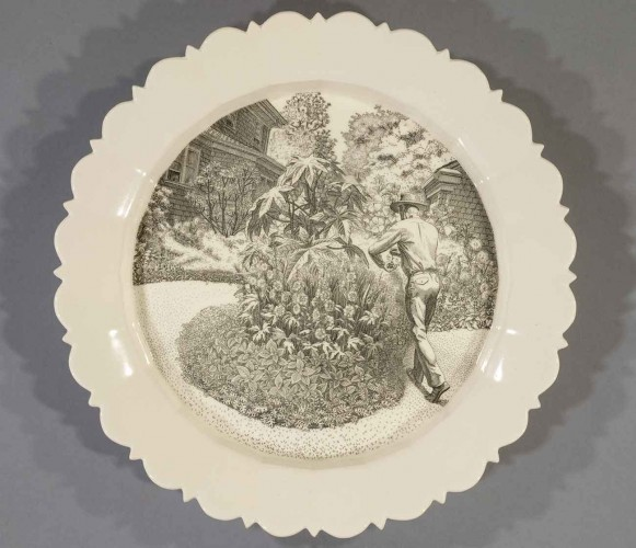 Andrew Raftery, August: Deadheading, 2009-2016, engravings transfer printed on glazed white earthenware, diameter: 12 1/2 in. (31.8 cm.) The Huntington Library, Art Museum, and Botanical Gardens. Purchased with funds from Richard Benefield and John F. Kunowski © Andrew Raftery