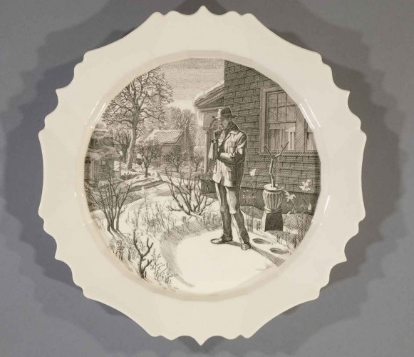 Andrew Raftery, December: Contemplating the Snow, 2009-2016, engravings transfer printed on glazed white earthenware, diameter: 12 1/2 in. (31.8 cm.) The Huntington Library, Art Museum, and Botanical Gardens. Purchased with funds from Richard Benefield and John F. Kunowski © Andrew Raftery