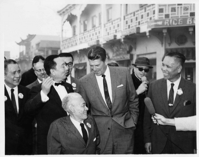 Ronald Reagan with Y. C. Hong et al., Los Angeles, 1966. Hong Family Papers. mssHong family photos box 4 folder 21 (5)