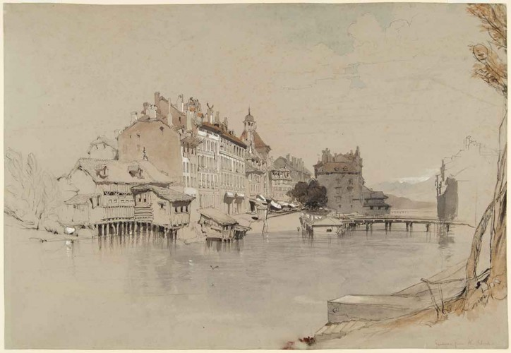 John Ruskin (British, 1819–1900), Geneva from the Rhone, undated, 1842 or 1846, watercolor, graphite pencil, and colored chalk on wove blue paper. Gilbert Davis Collection, The Huntington Library, Art Museum, and Botanical Gardens.