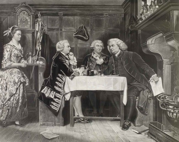 """Samuel Johnson (far right) converses with his friend James Boswell (center) and author Oliver Goldsmith in an engraving titled """"The Mitre Tavern,"""" 1880.  Courtesy of Loren Rothschild."""