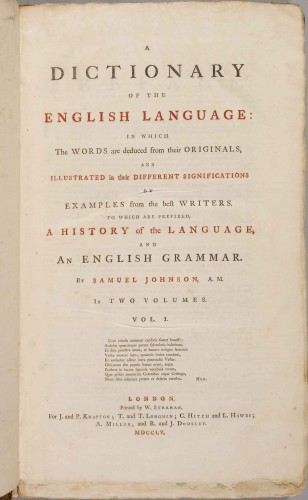 A first edition of Johnson's famous Dictionary of the English Language, published in 1755 in two volumes.  Courtesy of Loren Rothschild.