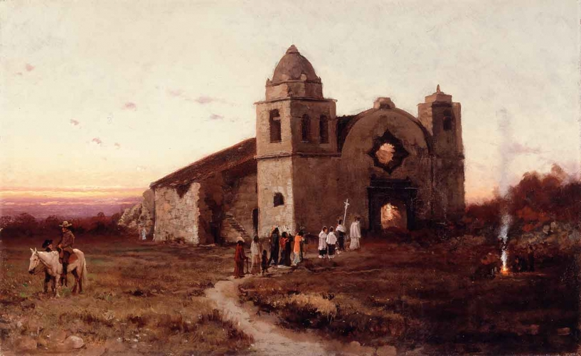 Jules Tavernier, Carmel Mission on San Carlos Day, 1875. Oil on canvas, 18 × 29 in. Courtesy of William and Merrily Karges.