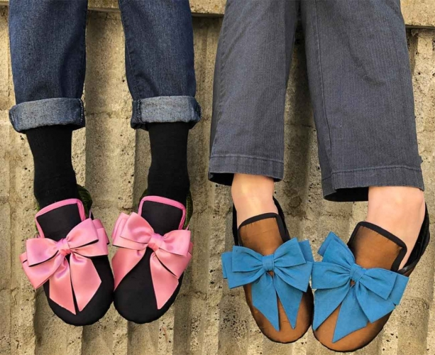 Pinkie and Blue Boy bow slippers