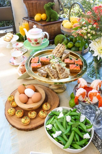 Tea sandwiches, deviled eggs and salads