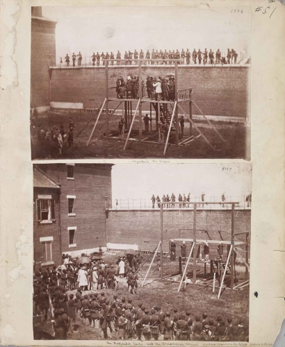 Alexander Gardner (1821-1882), Hanging of the Lincoln Conspirators at the Old Arsenal, Washington, DC, July 7, 1865. Page from the James E. Taylor Scrapbook; albumen prints; ea. 6 ½ x 9 in. Huntington Library, Art Collections, and Botanical Gardens.