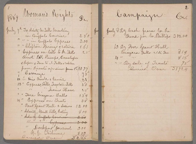 Two pages from Susan B. Anthony account book detailing expenses during the 1859 New York State woman's rights campaign, April 17, 1858–July 27, 1860. In the spring of 1859, Anthony was engaged in preparation for the 9th Woman's Rights Convention in New York City. The convention opened on May 12, 1859, at the Mozart Hall. The Huntington Library, Art Museum, and Botanical Gardens.