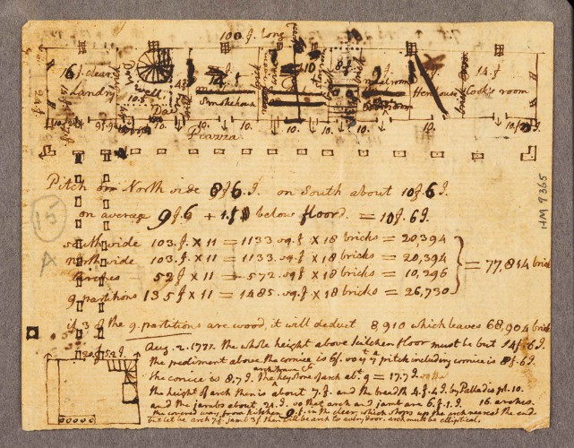 Thomas Jefferson, Estimate of bricks required for household offices at Monticello, with floor plans…, Aug. 2, 1771. Thomas Jefferson Collection. HM 9365
