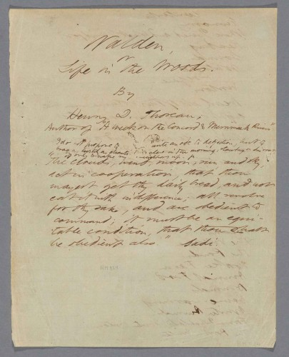 Henry David Thoreau, Walden or Life in the Woods, Draft G, Feb. and March 1854. mssHM 924