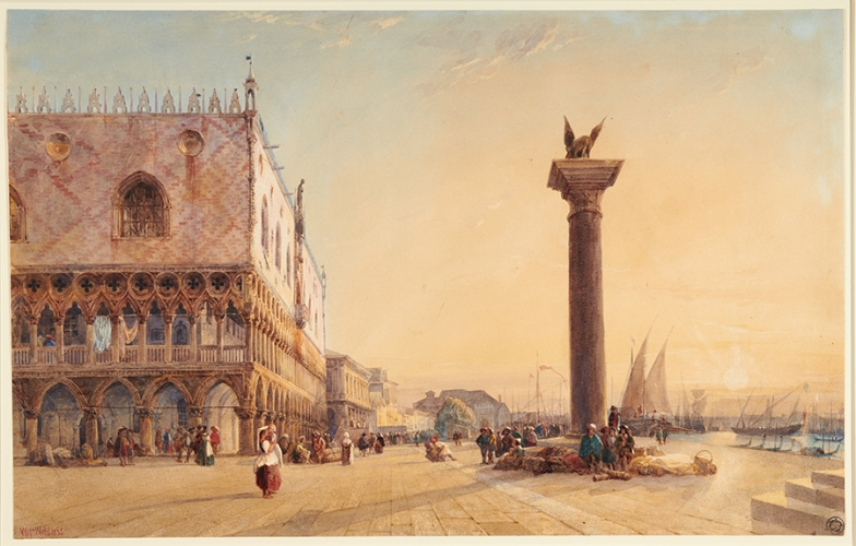 William Wyld (British, 1806-1889), Doge's Palace and Winged Lion of Saint Mark, 1835.