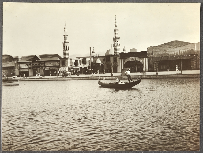 """Unknown Photographer, Gondola, Lagoon, and Midway Plaisance in """"Venice of America,"""" ca. 1906-1910."""