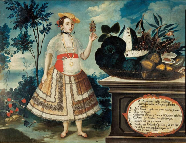 Vicente Albán, Yapanga from Quito, Quito (Ecuador), 1783, oil on canvas, 31 ½ × 42 15/16 in. Museo de América, Madrid, 00074.