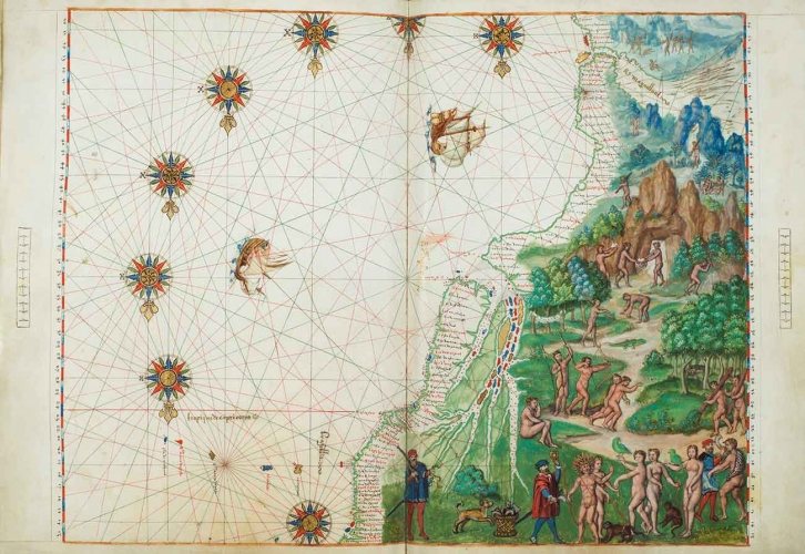 Le vrais Bresil es province du Quito (The true Brazil, a province of Quito), in Vallard Atlas, Dieppe (France), 1547, tempera, gold paint, gold leaf, and black ink on parchment, 14 ½ × 18 ¾ in. The Huntington Library, Art Collections and Botanical Gardens.
